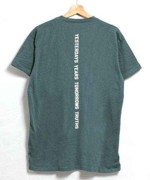 felt maglietta(フェルトマリエッタ)/コットン素材バック英字プリントTシャツ/am200