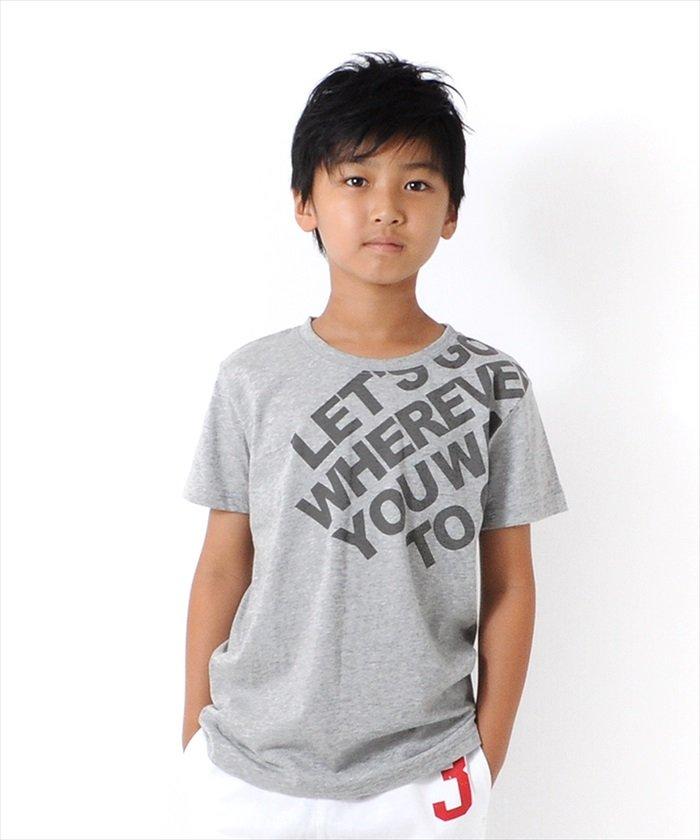 グラソス 斜めロゴ半袖Tシャツ レディース グレー 140cm 【GLAZOS】