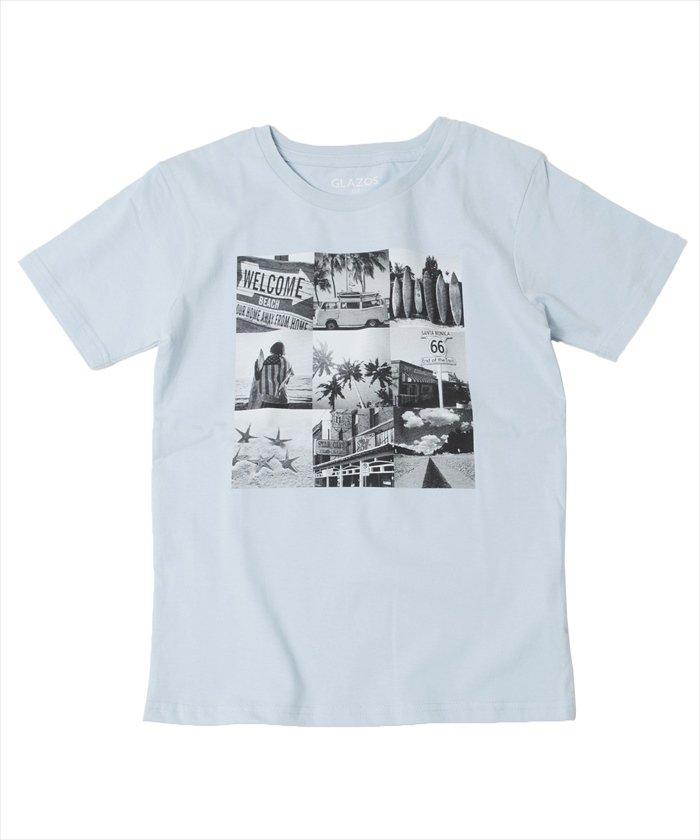 グラソス フォトプリント半袖Tシャツ レディース ライトブルー 130cm 【GLAZOS】