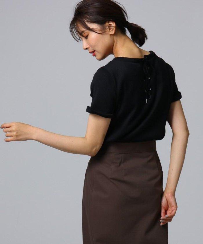 [L]【洗える】バックレースアップデザインプルオーバー