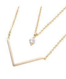cream dot/華奢チェーンとモチーフで綺麗なデコルテ魅せが叶う♪『V字&ビジューの2連ネックレス』/502385633
