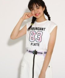 PINK-latte/【吸水速乾/コットン100%】ナンバリングノースリ Tシャツ/502386736