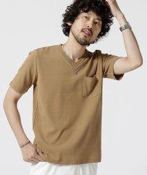 nano・universe/編み立てリブVネックTシャツ/502372066