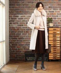 NATURAL BEAUTY/◆カシミア混フォックスファー襟ステンカラーコート/502387397
