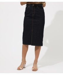 AZUL by moussy/CENTER SLIT DENIM MIDI SKIRT/502390576