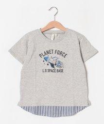 LAGOM/ロケット柄ストライプドッキングTシャツ/502376934