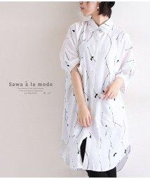 Sawa a la mode/小枝プリントのドルマンスリーブシャツチュニック/502391539