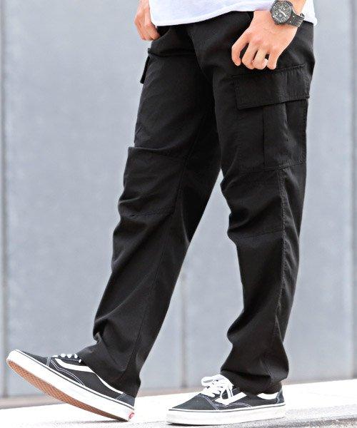 ラグスタイル カーゴパンツ/カーゴパンツ メンズ ワイドパンツ イージーパンツ メンズ ブラック XL 【LUXSTYLE】