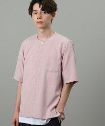 JUNRed/カチオンノーカラー半袖シャツ/502394153