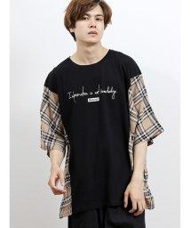 semanticdesign/チェック切替ドルマン半袖Tシャツ/502397897