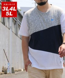 MARUKAWA/大きいサイズ クジラ柄 切替 半袖Tシャツ/502387584