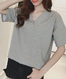 miniministore/Vバッククロスシャツ レディース トップス 体型カバー Tシャツ 背中 開き 大人可愛い 即納/502403634
