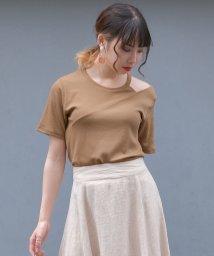 ANDJ/肩開きテレコTシャツ/502403984
