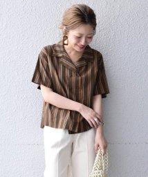 Khaju/Khaju:ストライプオープンカラーシャツ/502405134