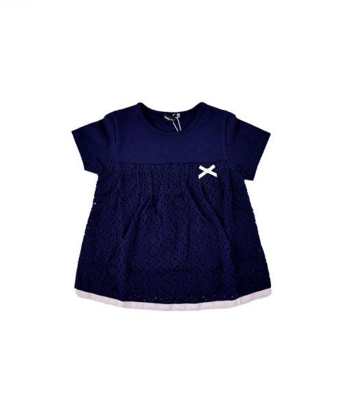 BeBe(ベベ)/天竺レース切り替えTシャツ/111515015