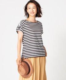 Leilian/【特別提供品】ラグランスリーブボーダー柄Tシャツ/502351087