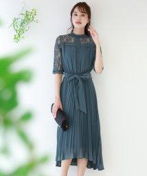 BLUEEAST/《結婚式 パーティー 二次会》スタンドカラーはしごレース×プリーツ切替ドレス/502413382