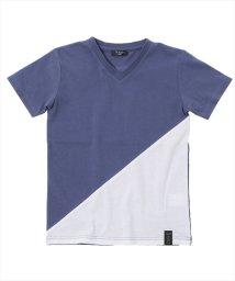 GLAZOS/接触冷感斜め切替Vネック半袖Tシャツ/502414323