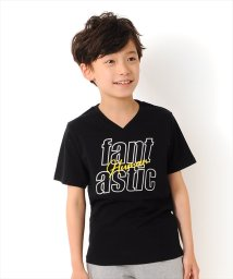 GLAZOS/抜きロゴVネック半袖Tシャツ/502414334