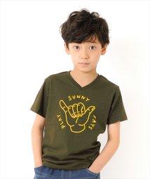 GLAZOS/ハンドイラストVネック半袖Tシャツ/502414335