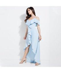 GUESS/ゲス GUESS CHAMBRAY RUFFLE MAXI DRESS (SUPER BLEACHED WASH)/502418370