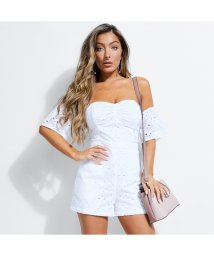 GUESS/ゲス GUESS WILDFLOWER OFF-SHOULDER EYELET ROMPER (PURE WHITE)/502418372