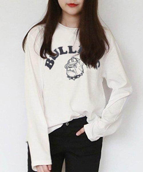 felt maglietta(フェルトマリエッタ)/ブルドッグのプリントが可愛い♪プリントTシャツ/am109
