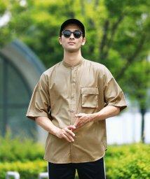 JIGGYS SHOP/バンドカラービッグシャツ / 半袖シャツ メンズ カジュアルシャツ バンドカラー シャツ ビッグシルエット ルーズシルエット/502420739