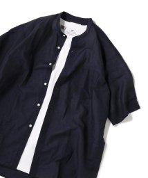 SHIPS JET BLUE/SHIPS JET BLUE: コットンリネン バンドカラー ショートスリーブシャツ/502421133