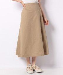 MELROSE Claire/コットンツイルストレッチバックウエストゴムラップ風スカート/502405041