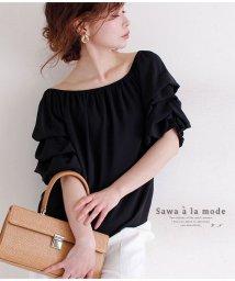 Sawa a la mode/ボリューム袖のゴムシャーリングネックトップス/502423233