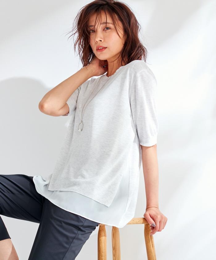 【洗える】VIS/NYクレープ レイヤード風 ニット(502425285)|レディースファッション|阪急百貨店公式通販 HANKYU FASHION