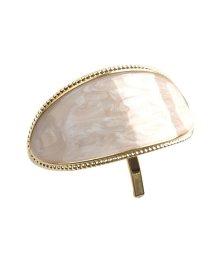 cream dot/艶やかなマーブル模様のオーバル型アーチポニーフック/502427108