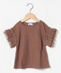 b-ROOM/袖フリルワッフルTシャツ/502423617