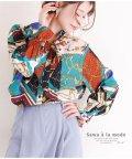 Sawa a la mode/スカーフ模様のボウタイリボンシャツブラウス/502430748
