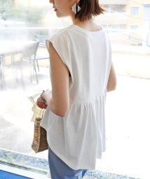 and Me.../コットン背中フリルフレンチスリーブ半袖Tシャツ/502436857