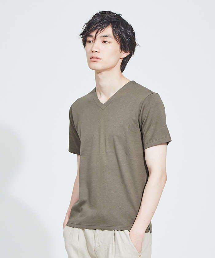 【Recency of Mine】綿モダールWフェイスVネック 半袖Tシャツ