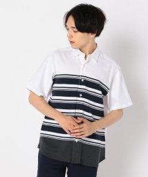 GLOSTER/ニット切替ショートスリーブシャツ/502429070