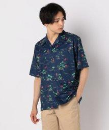 GLOSTER/フラミンゴ柄アロハ オープンカラーシャツ/502429096