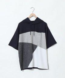 coen/ブロック切替ビッグシルエット半袖パーカー/502432581