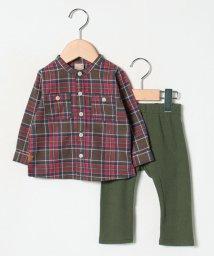 petit main/チェックシャツ&リブパンツセット/502432597