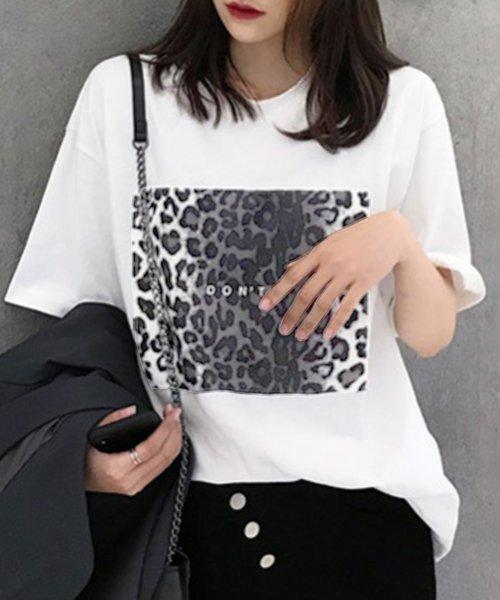 felt maglietta(フェルトマリエッタ)/ヒョウ柄BIGシルエットTシャツ/am216