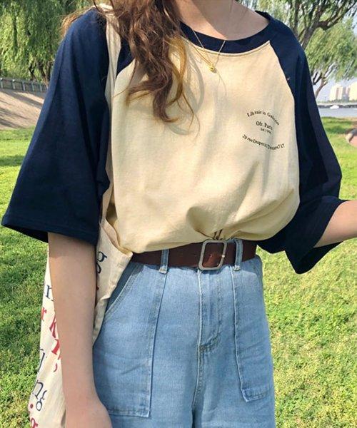 felt maglietta(フェルトマリエッタ)/ゆったり着れるバイカラーロゴTシャツ/am221