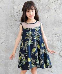 子供服Bee/パイナップル柄シースルーノースリーブワンピ/502354136