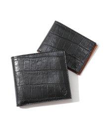 Felisi/452 SA クロコダイル 型押し カードケース付き 二つ折り財布 0003/BLACK メンズ/502443700