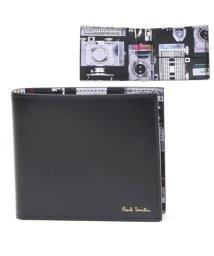 Paul Smith/4833 A40245 PR カメラプリント 二つ折り財布 小銭入れ付き レザー ウォレット PR/ブラック メンズ/502444085