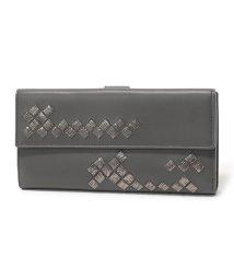 BOTTEGA VENETA/134075 VAXS1 イントレチャート刺繍 レザー 二つ折り長財布 8495/DARK-GREY レディース/502444468