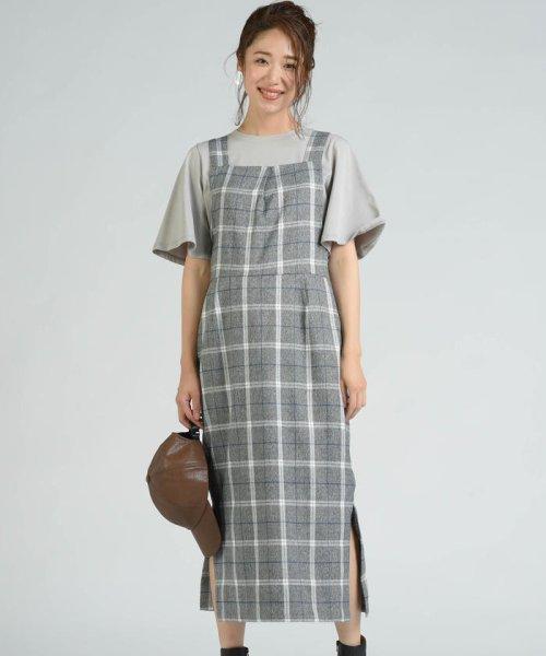 socolla(ソコラ)/【socolla】先染めチェックサイドスリットジャンパースカート/212185009