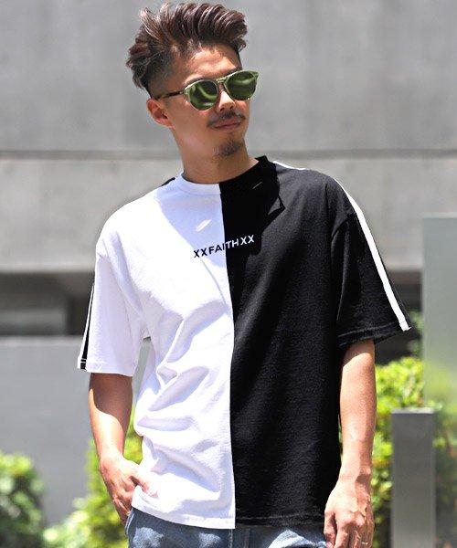 LUXSTYLE(ラグスタイル)/袖ラインロゴ&フォトプリントドッキングBIGTシャツ/Tシャツ メンズ 半袖 ロゴ プリント ビッグシルエット/pm-8575