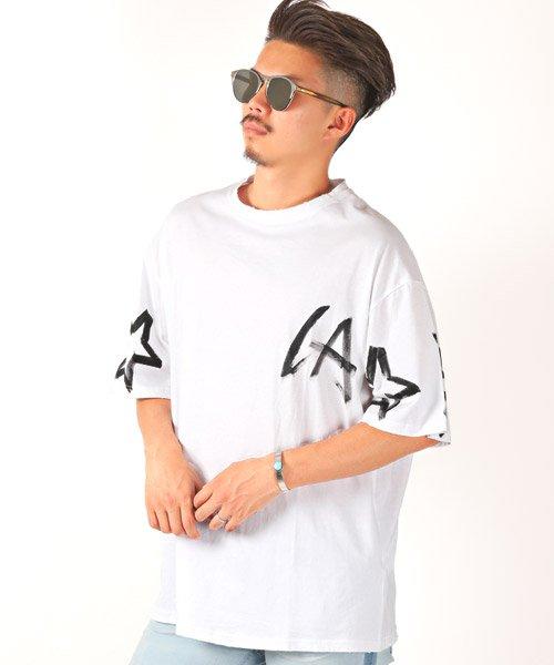 LUXSTYLE(ラグスタイル)/手書き風スター&ロゴプリントビッグ半袖Tシャツ/Tシャツ メンズ 半袖 手書き風 プリント ビッグシルエット/pm-8611